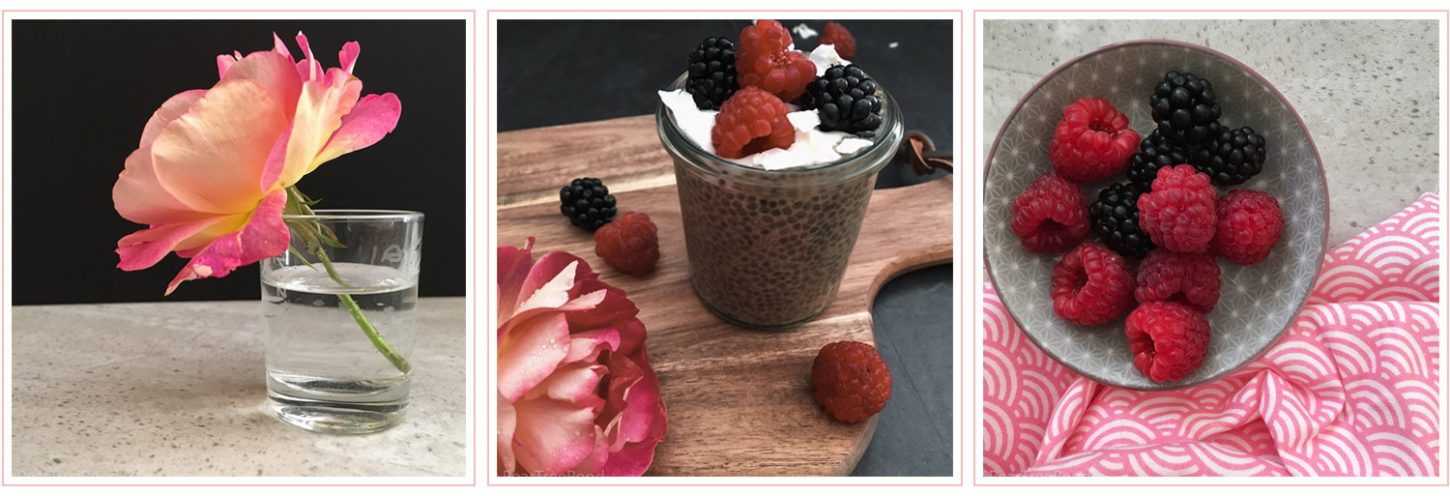 Pink rose in a glass of water, Café au Lait chia seed pudding and a small bowl with raspberries