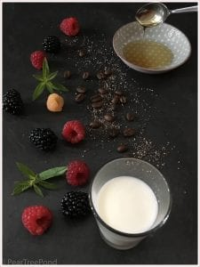 Flat lay photograph: coffee beans, red and yellow raspberries, chia seeds, milk and honey on black background