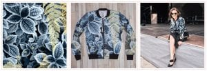 Bomber jacket with yellow-blue floral print, designed by PearTreePond. | The Importance of Overcoming Self-Doubt as an Online Solopreneur | PearTreePond - The Solpreneur Safety Net