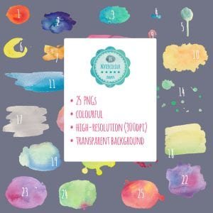 25 lovingly handcrafted watercolour shapes for your next design project - Colourful high-resolution PNGs with transparent backgrounds. | PearTreePond Blog #design #watercolour #shapes