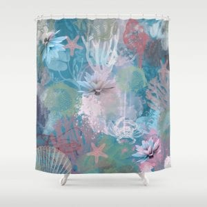 Wonderland - Shower curtain by PearTreePond | PearTreePond Blog #design #watercolour #showercurtain