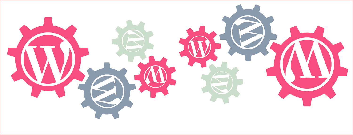 Colourful cog wheels that represent different WordPress plugins working together.