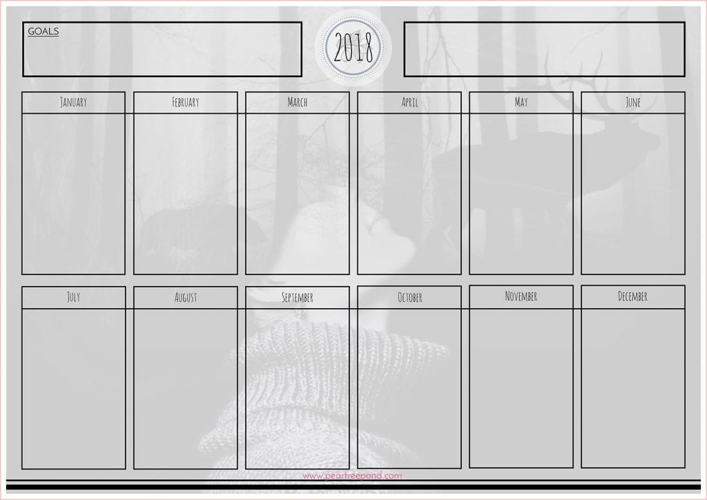 Calendar for planning your project over the course of a year. Monthly overview with enough free space to write down tasks for each month.