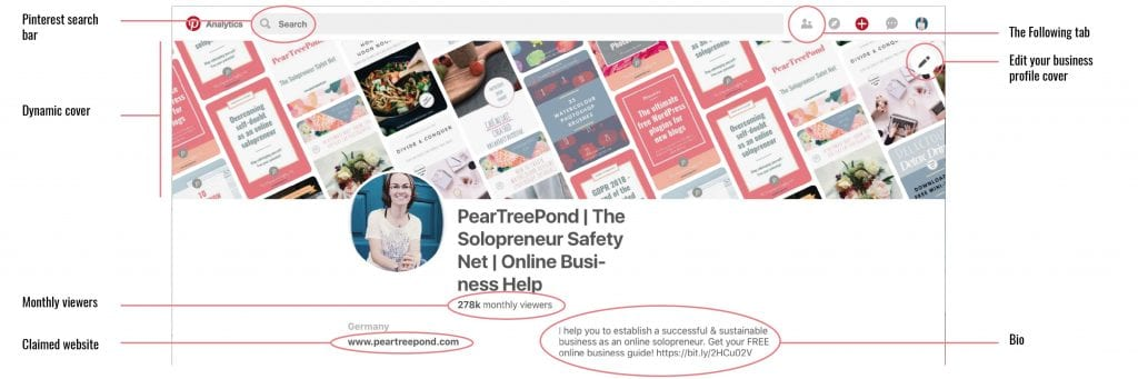 PearTreePond's Pinterest business profile showing the new dynamic cover, the Following tab, monthly viewers and other details.   PearTreePond - The Solopreneur Safety Net