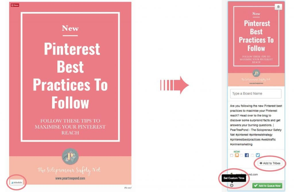 Tailwind for Pinterest: The Tailwind browser extension, example.   PearTreePond - The Solopreneur Safety Net