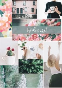 Solopreneur Safety Net - branding - mood board to collect colours, textures and and capture a feeling   PearTreePond - The Solopreneur Safety Net