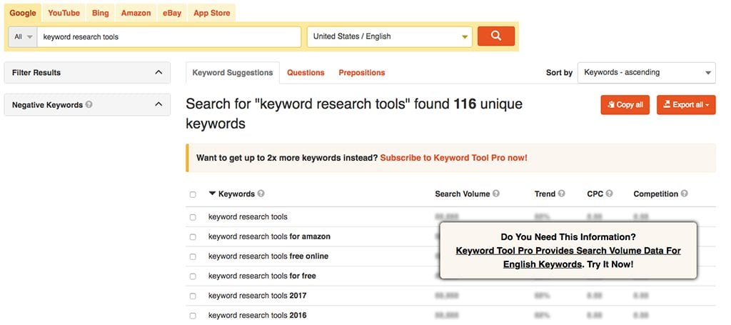 Keyword research tools: Keyword Tool, search result example on the free version | PearTreePond - The Solopreneur Safety Net