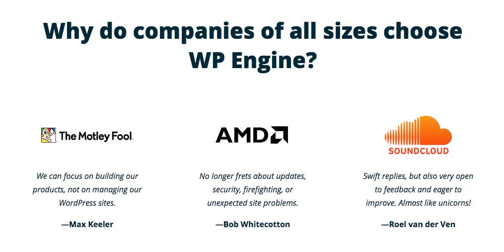 WP Engine Testimonials
