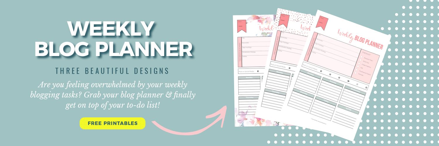 Weekly blog planner in three designs; Frontpage | PearTreePond - The Solopreneur Safety Net
