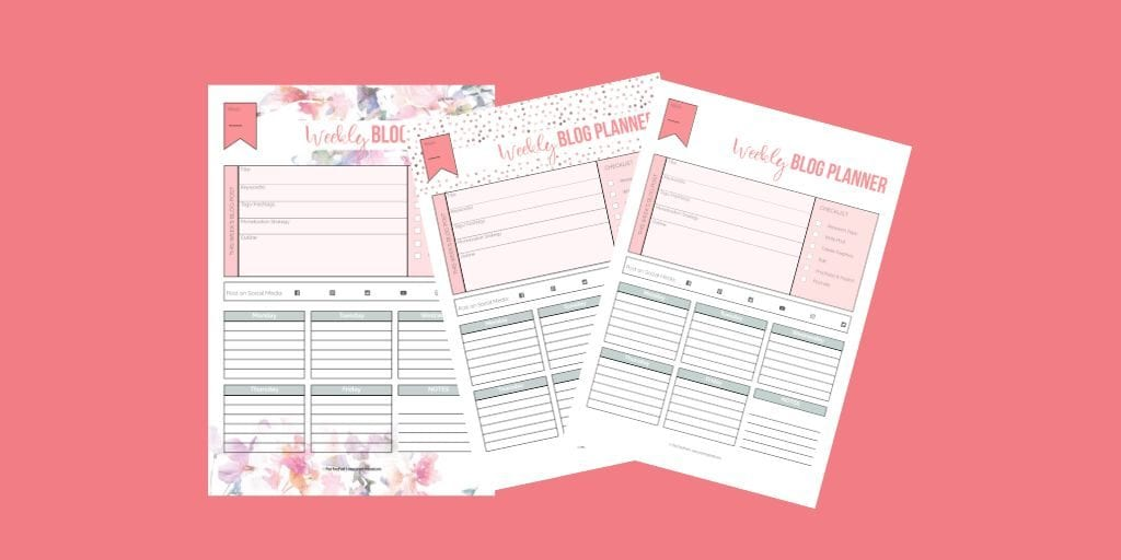 Weekly blog planner, three designs on pink background