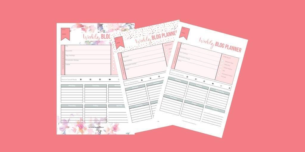 Weekly blog planner, three designs on pink background