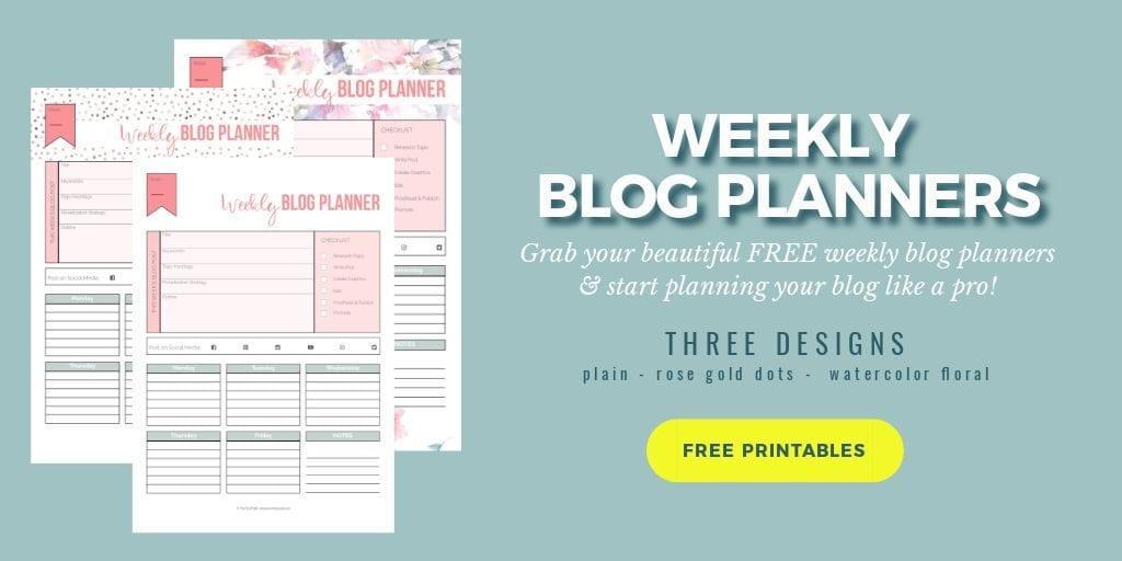 Weekly blog planner in three designs; Hero | PearTreePond - The Solopreneur Safety Net
