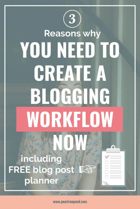 Pinterest image: 3 reasons why you need to create a blogging workflow now | PearTreePond - The Solopreneur Safety Net