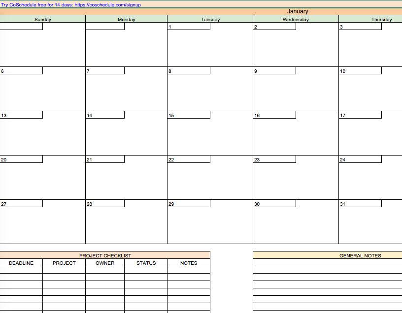CoSchedule content calendar example