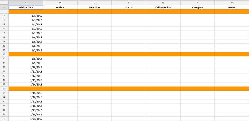 Content Marketing Institute content calendar example