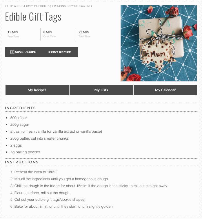 Edible gift tags - dough recipe