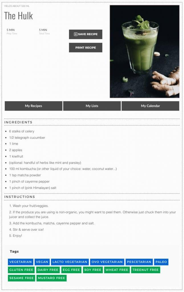 The Hulk - green juice recipe
