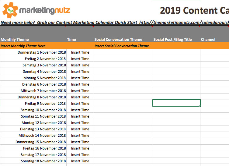 marketing nutz content calendar example