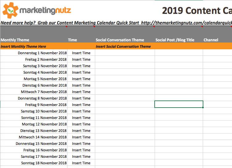 marketing nutz content calendar example