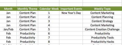 Content calendar example | PearTreePond - The Solopreneur Safety Net