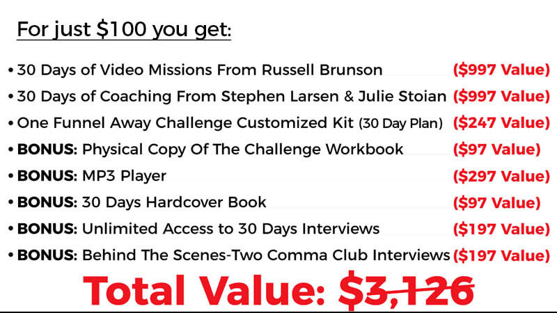 One funnel away challenge value stack